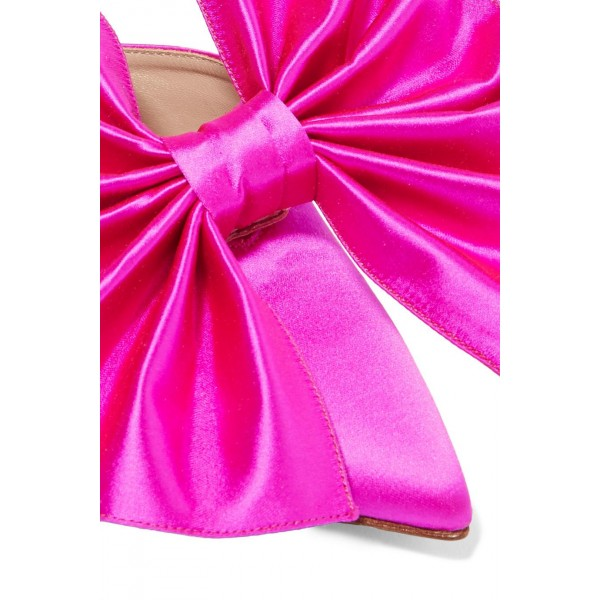 Hot Pink Satin Bow Heels Pointy Toe Stiletto Heels Mule image 2