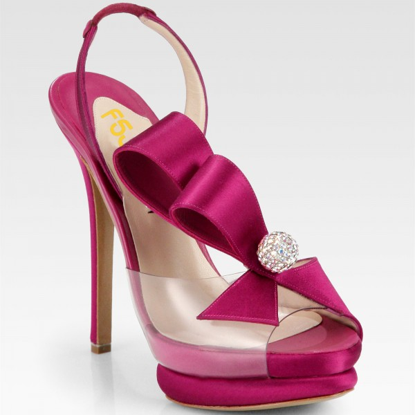 Magenta Wedding Sandals Rhinestone Slingback Stiletto Heels for Bride image 2