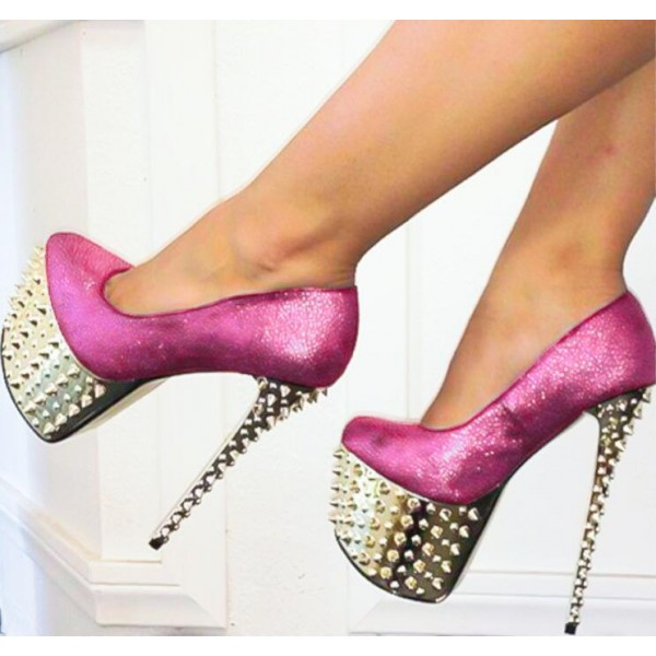 Fuchsia Stripper Heels Sparkly Platform Pumps with Rivets image 1