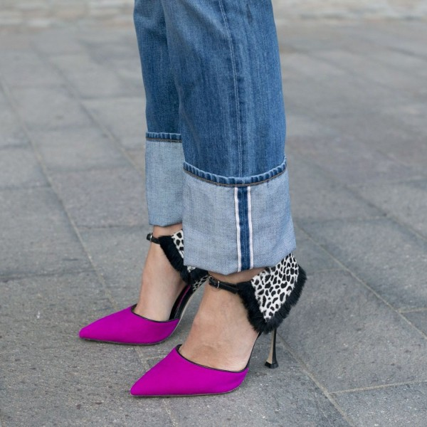 Women's Pink Ankle Strap Sandals Pointy Toe Stiletto Heels Pumps Shoes image 1