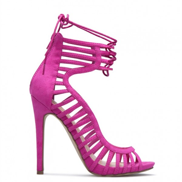 Rose Red Stiletto Heels Peep Toe Lace up Strappy Sandals  image 3