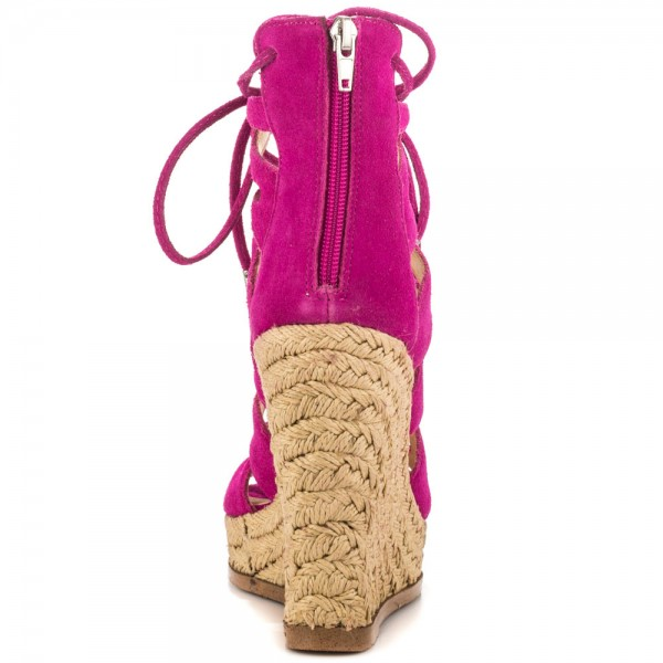 Fuchsia Wedge Sandals Vegan Suede Peep Toe Lace up Platform Wedges image 2