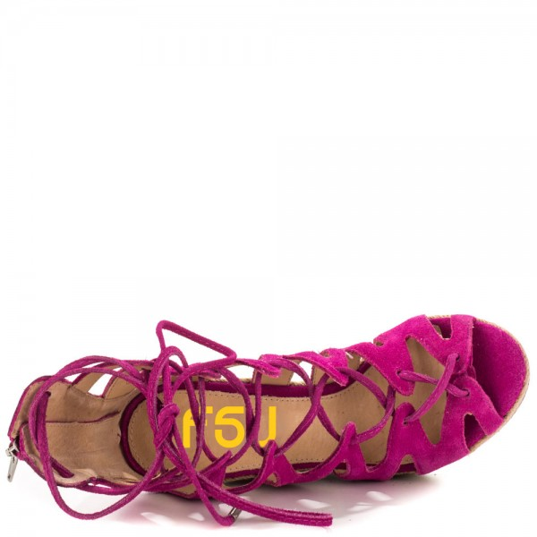Fuchsia Wedge Sandals Vegan Suede Peep Toe Lace up Platform Wedges image 3