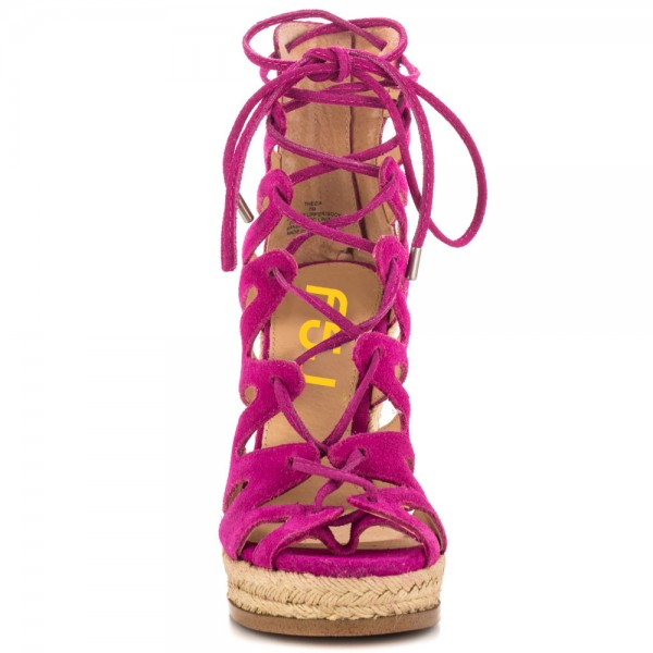 Fuchsia Wedge Sandals Vegan Suede Peep Toe Lace up Platform Wedges image 4