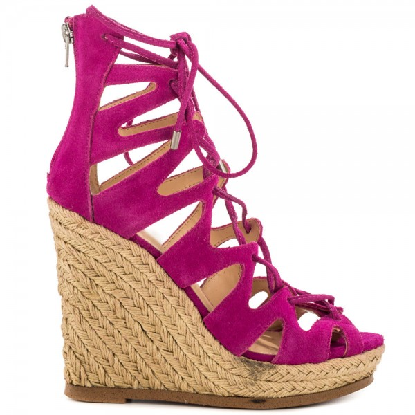 Fuchsia Wedge Sandals Vegan Suede Peep Toe Lace up Platform Wedges image 6