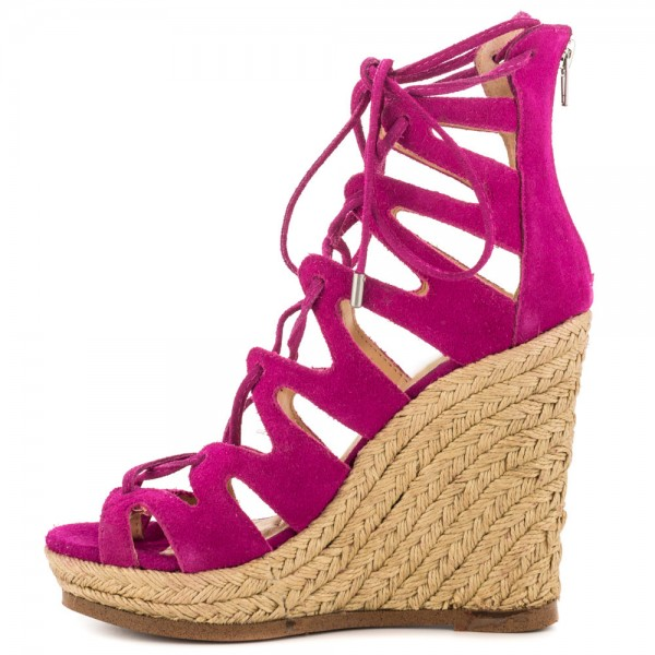 Fuchsia Wedge Sandals Vegan Suede Peep Toe Lace up Platform Wedges image 7