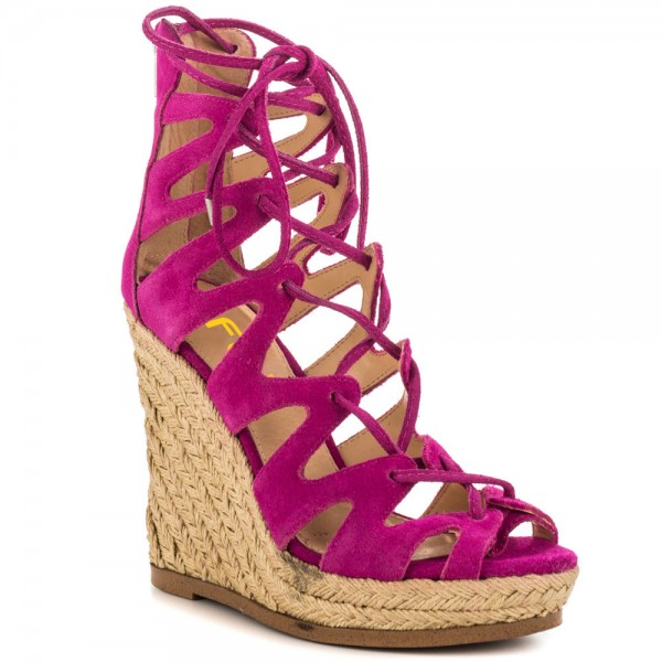Fuchsia Wedge Sandals Vegan Suede Peep Toe Lace up Platform Wedges image 8