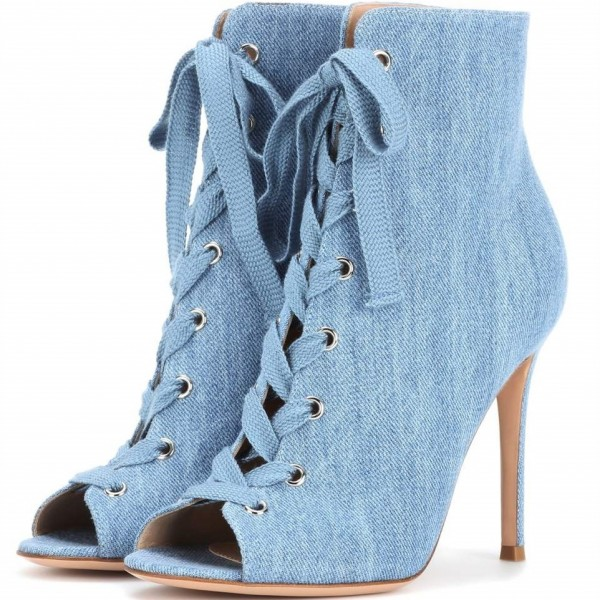Denim Boots Peep Toe Lace up Stiletto Heel Ankle Booties for Women image 1