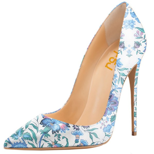 Light Blue Floral Heels Pointy Toe Stiletto Heels Pumps image 1