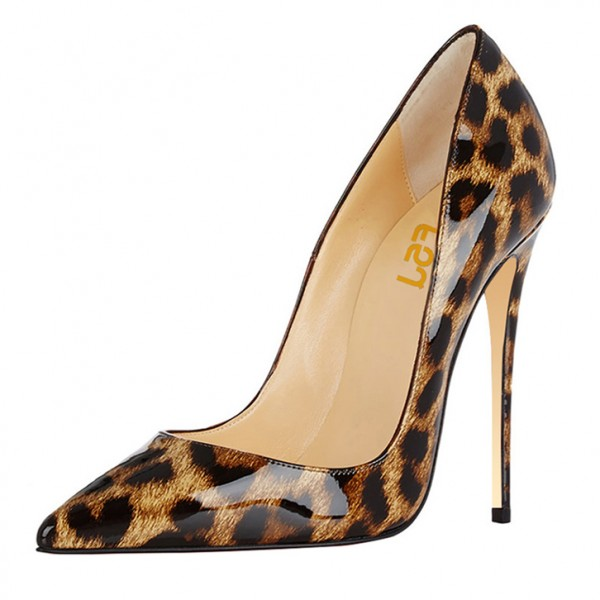 Leopard Print Heels Patent Leather 5 Inches Stiletto Heel Pumps image 1