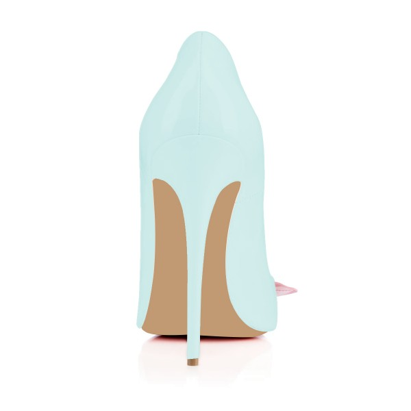 Light Blue Stiletto Heels Flower Pointy Toe Pumps image 4