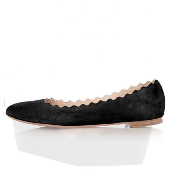 Black Comfortable Flats Suede Round Toe Shoes image 1