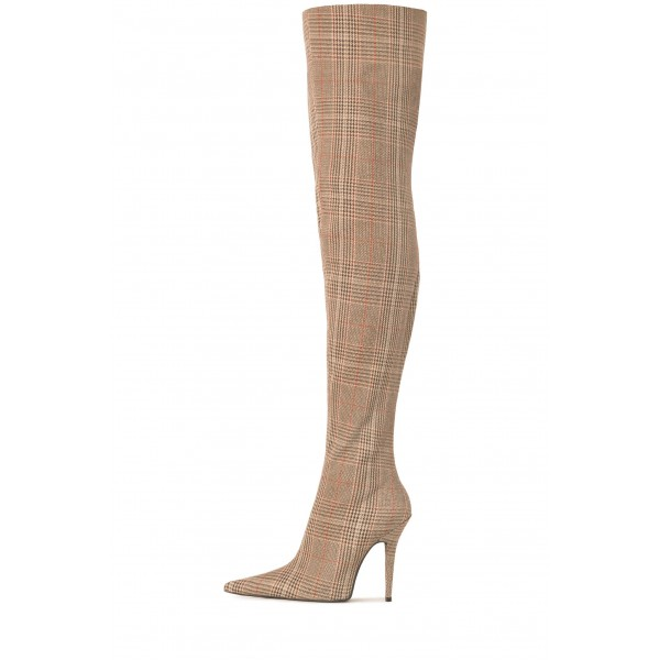 Plaid Knit Long Boots Stiletto Heel Thigh high Boots image 2