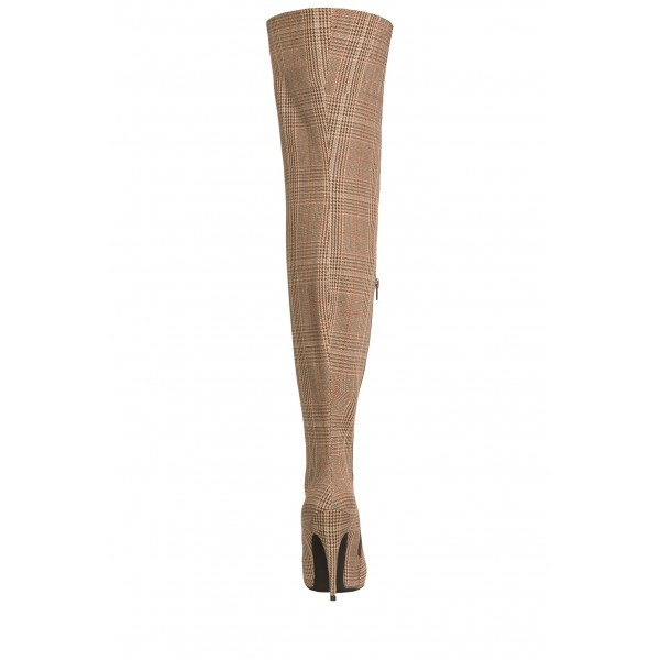 Plaid Knit Long Boots Stiletto Heel Thigh high Boots image 3