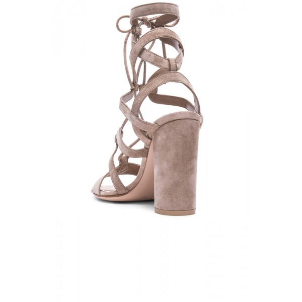 Women's Nude Soft Suede Chunky Heel Gladiator Sandals image 4