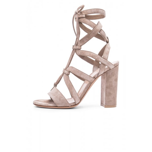 Women's Nude Soft Suede Chunky Heel Gladiator Sandals image 1