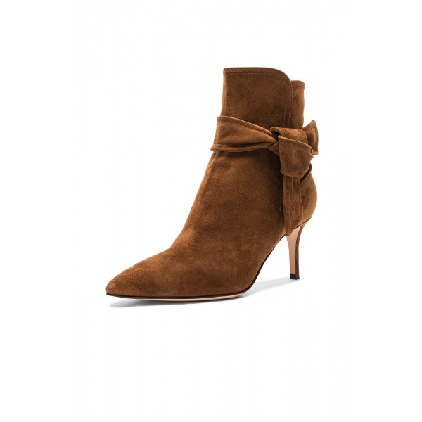 Tan Boots Pointy Toe Ankle Tie Suede Kitten Heel Booties image 2