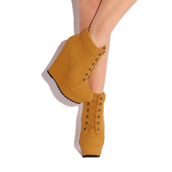 Mustard Wedge Booties Fashion Lace up Platform Ankle Boots image 2