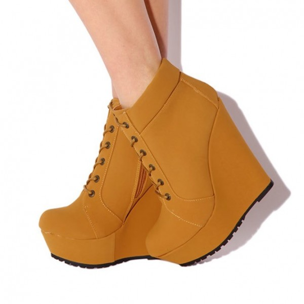 Mustard Wedge Booties Fashion Lace up Platform Ankle Boots image 1