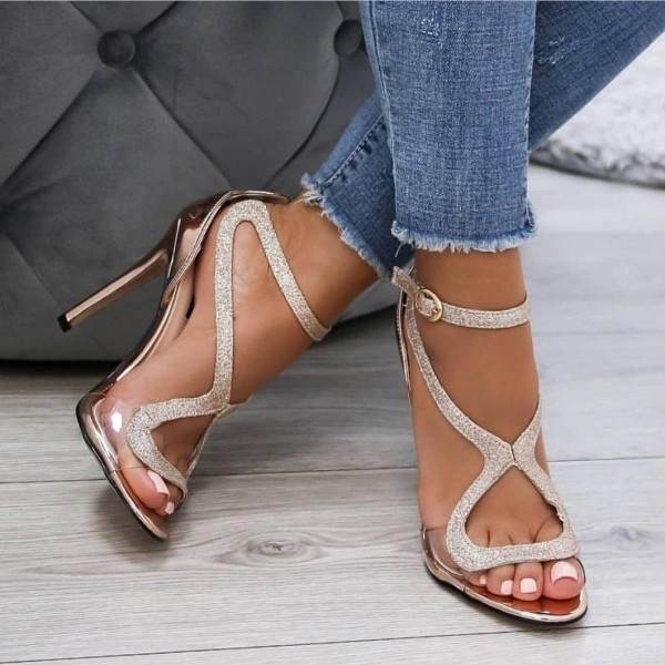 Glitter Rose Gold Shoes Open Toe Stiletto Heels Prom Sandals image 1