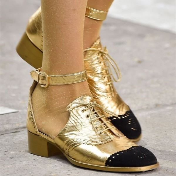 Gold and Black Wingtip Shoes Lace up Ankle Strap Block Heel Oxfords image 5
