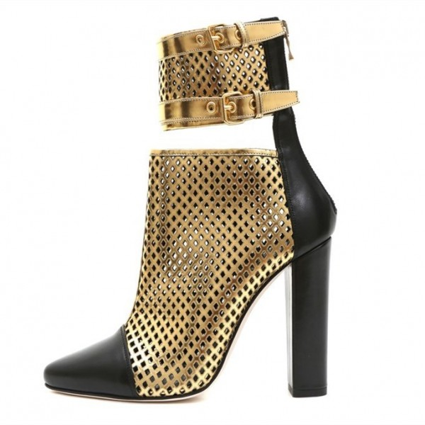 Gold and Black Caged Chunky Heel Boots Hollow out Buckles Ankle Boots image 1
