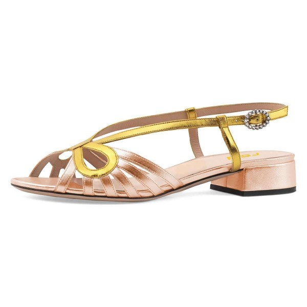 innovative design free delivery run shoes Gold and Champagne Slingback Low Heel Chunky Heel Sandals