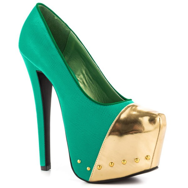 Fashion Green And Gold Dress Shoes High Heel Platform Pumps FSJ Shoes image 3