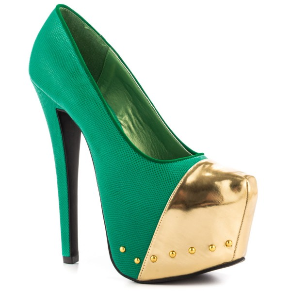 Fashion Green And Gold Dress Shoes High Heel Platform Pumps FSJ Shoes image 4