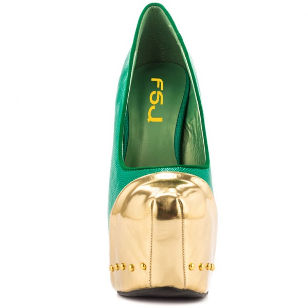 Fashion Green And Gold Dress Shoes High Heel Platform Pumps FSJ Shoes image 6