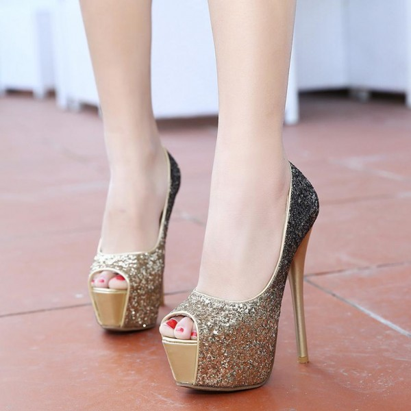 Gold and Grey Glitter Shoes Peep Toe Platform Stiletto Heel Pumps image 1