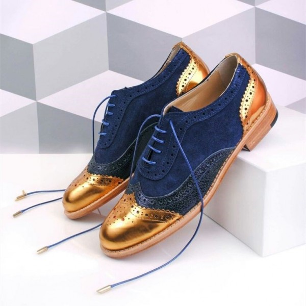 Gold and Navy Two Tone Wingtip Women's Oxfords Lace up Flat Brogues image 1
