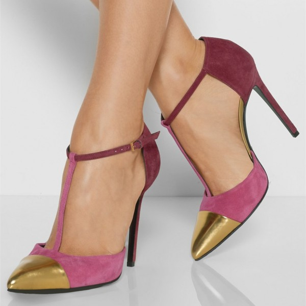 Gold and Orchid T Strap Heels Ankle Strap Pumps by FSJ image 1