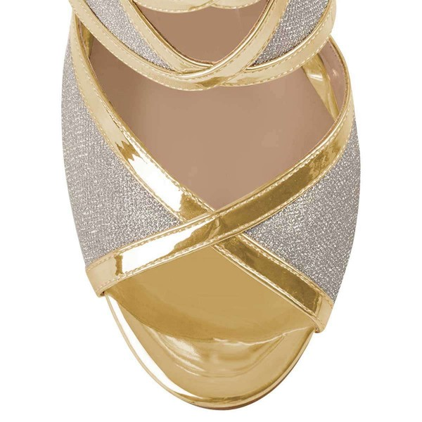 Gold And Silver Dazzling Open Toe Chunky Heel Ankle Strap Sandals image 3