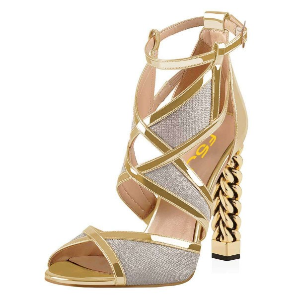 Gold And Silver Dazzling Open Toe Chunky Heel Ankle Strap Sandals image 1