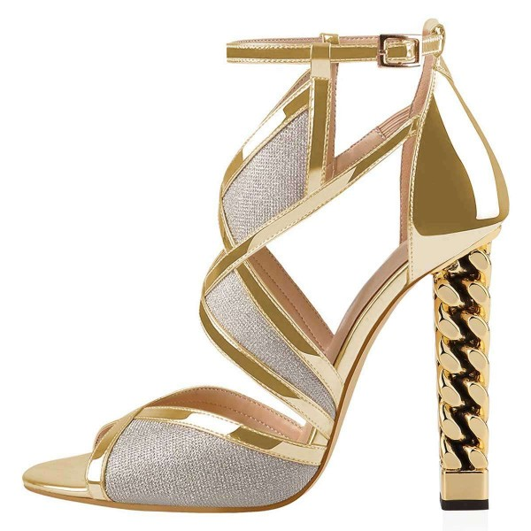 Gold And Silver Dazzling Open Toe Chunky Heel Ankle Strap Sandals image 2