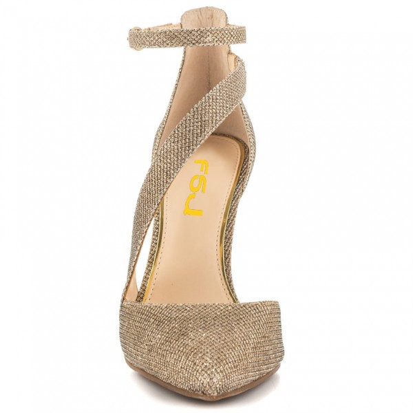 Women's Gold Sparkly Heels Ankle Strap Pointed Toe Heel Pumps image 3