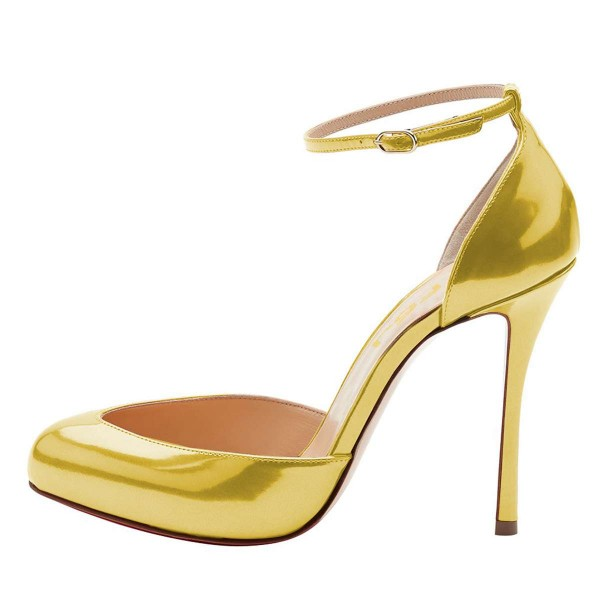 Gold Ankle Strap Heels Pumps image 2