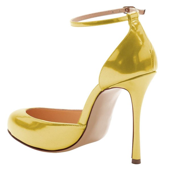 Gold Ankle Strap Heels Pumps image 3