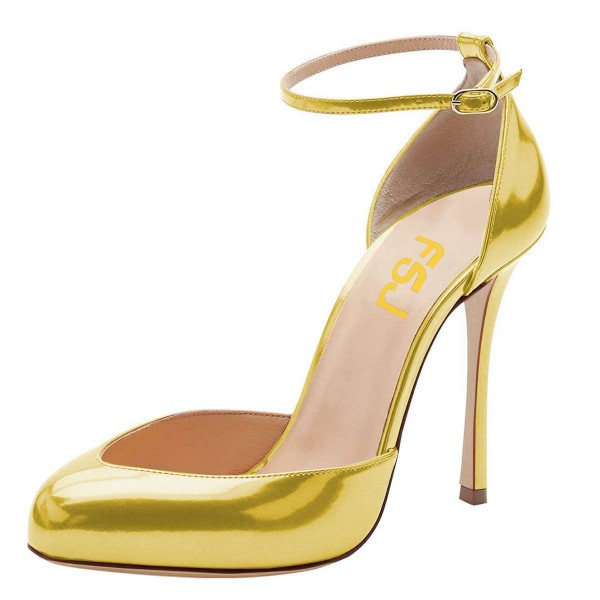 Gold Ankle Strap Heels Pumps image 1