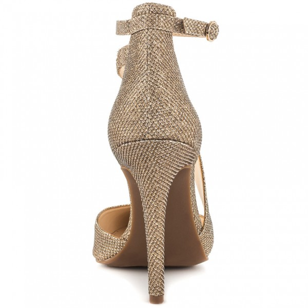 Women's Gold Sparkly Heels Ankle Strap Pointed Toe Heel Pumps image 4