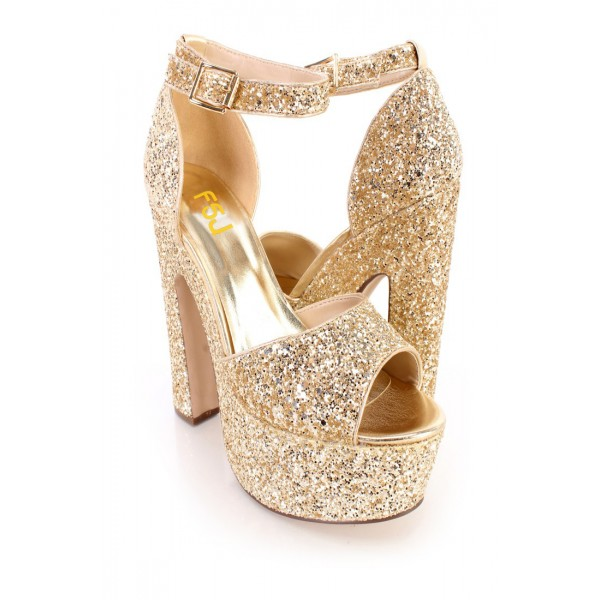 Women's Golden Dazzling Ankle Strap Sandals Buckle Chunky Heel ...