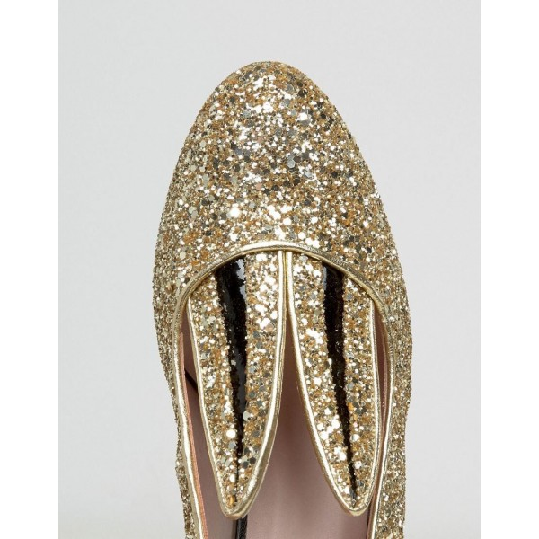 Fashion Gold Glitter Dress Shoes Chunky Heels Lovely Rabbit Pumps   image 4