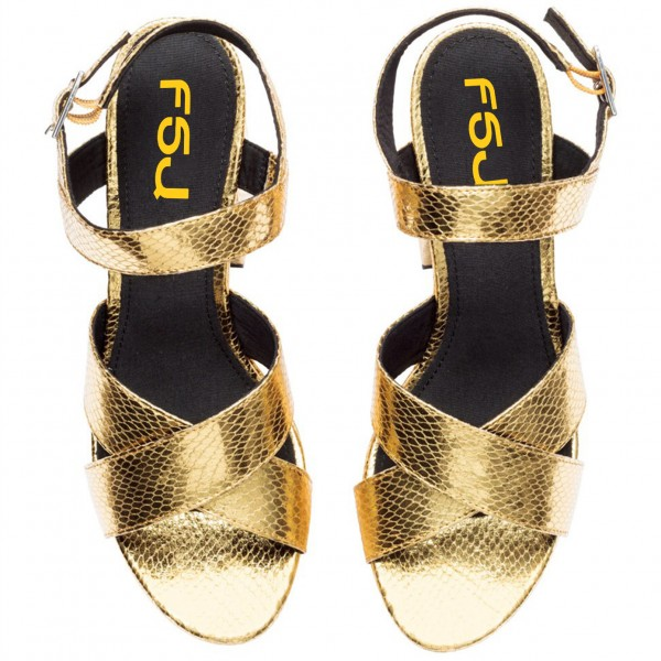 Women's Golden  Ankle Strap Buckle Platform Chunky Heel Sandals image 5