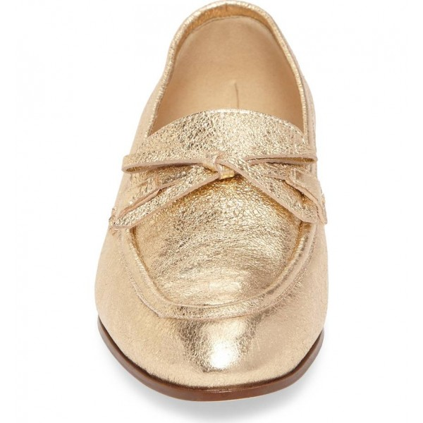 Gold Bow Elephant Print Loafers for Women Round Toe Comfortable Flats image 4