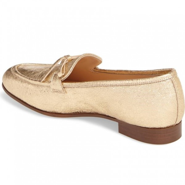 Gold Bow Elephant Print Loafers for Women Round Toe Comfortable Flats image 2