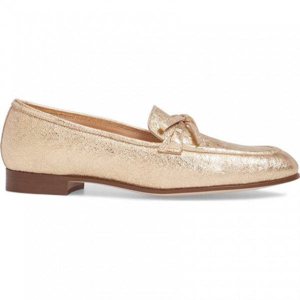 Gold Bow Elephant Print Loafers for Women Round Toe Comfortable Flats image 3