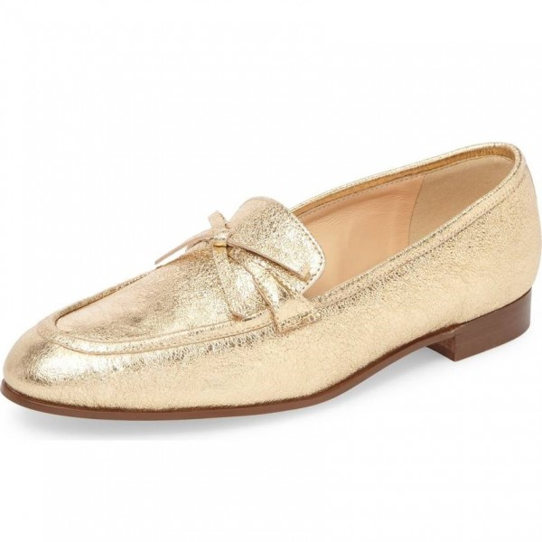 Gold Bow Elephant Print Loafers for Women Round Toe Comfortable Flats image 1