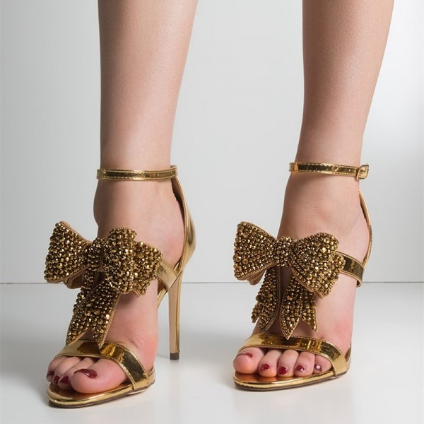 Gold Rhinestone Bow Sandals Metallic Ankle Strap Evening Shoes image 2