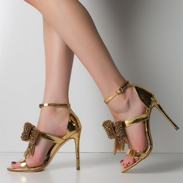 Gold Rhinestone Bow Sandals Metallic Ankle Strap Evening Shoes image 3